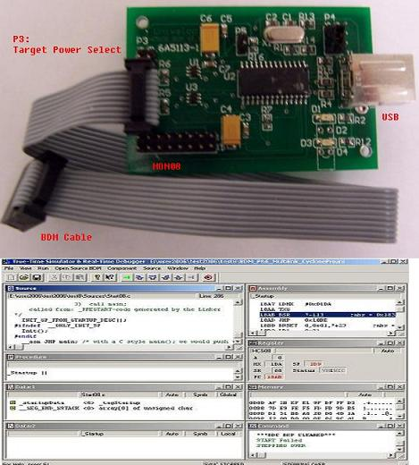 HCS12 USB-BDM debugger/programmer for FREESCALE HCS12 Microproce